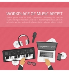 Workplace of music artist vector