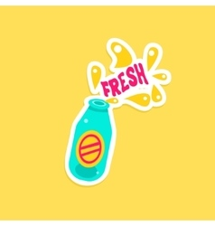 Bottle with fresh drink bright color summer vector