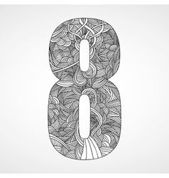 Number 8 with hand drawn abstract doodle pattern vector
