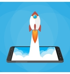 Rocket launched from the phone start up vector