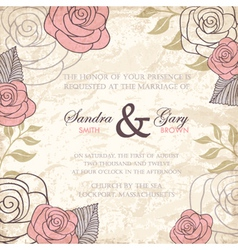 Vintage floral wedding invitation with roses vector