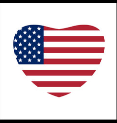 Us flag in shape of heart us symbol vector