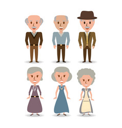 Set retro old people with hairstyle vector