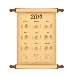 Calendar 2014 on parchment roll vector