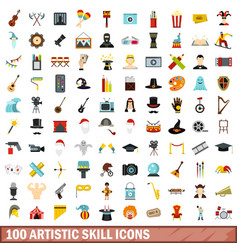 100 artistic skill icons set flat style vector