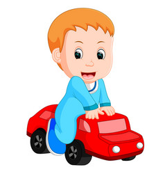 baby boy plays with a toy car vector image