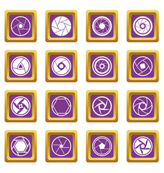 Photo diaphragm icons set purple vector