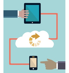 Download information connection of mobile devices vector