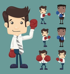 Set of businessman fight with boxing gloves charac vector