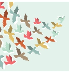 Sky background with stylized color flying birds vector