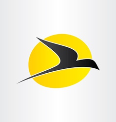 Flying bird and sun freedom conceps icon vector