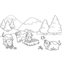 Cute cows at the mountains vector
