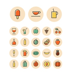 Thin line icons for food and drinks vector