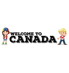 Canadian boy and girl greeting vector