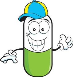 Cartoon pill capsule giving thumbs up vector