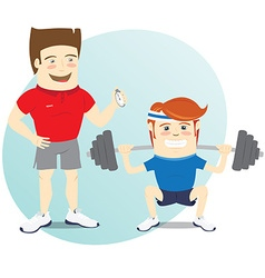 Fitness personal trainer and funny sportsman doing vector