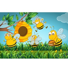 Four bees flying around the beehive vector