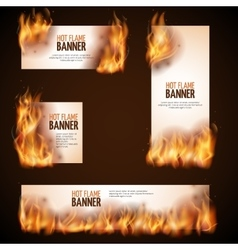 Burning campfire with hot flame banners vector