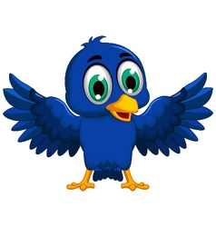 Cute blue bird cartoon waving vector