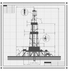 Blueprint of Oil rig silhouette vector image