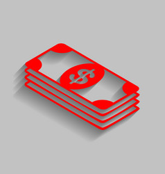 Bank note dollar sign red icon with soft vector