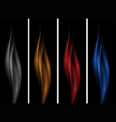 Black background with different color flames vector