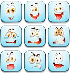 Blue buttons with faces vector image