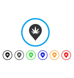 cannabis marker rounded icon vector image vector image