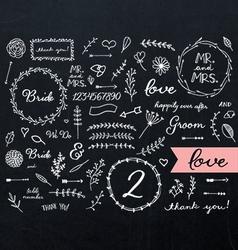Chalkboard wedding doodles vector
