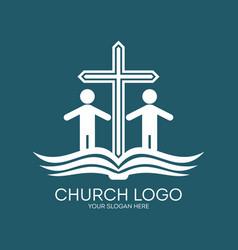 Church logo and christian symbols vector