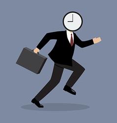 Clock head man running vector