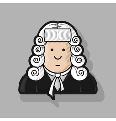 contour icon judge in a wig and gown vector image
