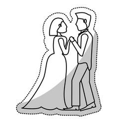 couple wedding holding hands romantic outline vector image