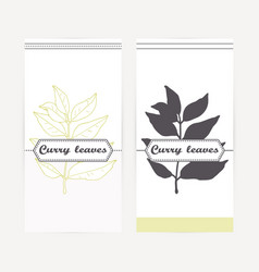 Curry leaves in outline and silhouette style vector