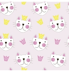 Cute hand drawn cat with crown seamless pattern vector