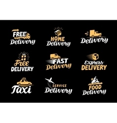 Delivery logo shipping icons set vector