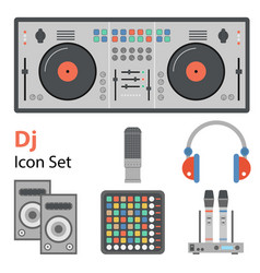 Dj flat set vector