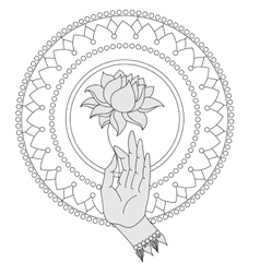 Elegant hand drawn buddha hand with flower vector