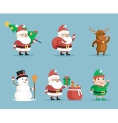 Elf deer snowman santa claus cartoon characters vector