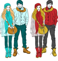 Fashion stylish guy and girl in warm cloth vector