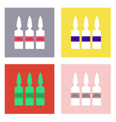 Flat icon design collection medical ampoule vector