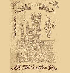 graphic with old castle on textured background vector image vector image