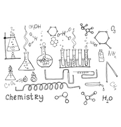 Hand drawn chemistry set vector