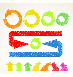 Hand-drawn different arrows collection vector image vector image