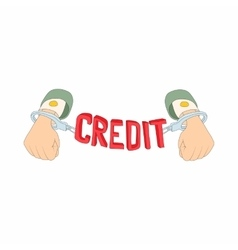 Hands with handcuffs and credit lettering icon vector