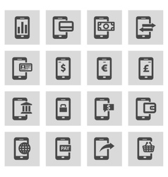 Line mobile banking icons set vector
