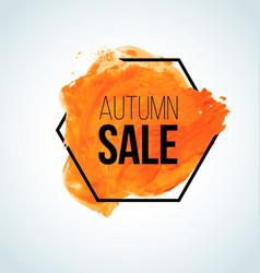 orange watercolor fall sale label vector image