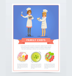 Poster with young professional chef and assistant vector