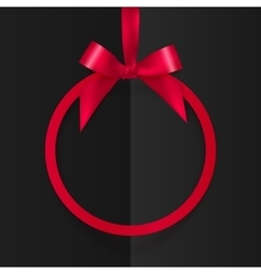 Red round frame with silky bow and ribbon at black vector