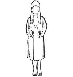 Schoolgirl sketch child in vector